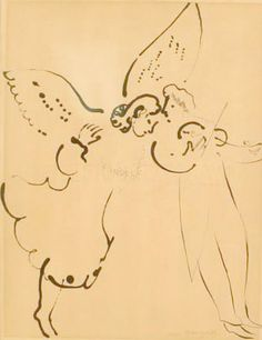 The simplicity of this ink drawing by Marc Chagall. I'd bet me made it in moments