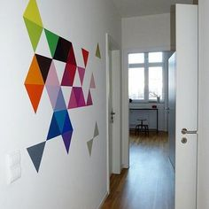 New Educational Space ideas Diy Wall Art, Diy Wall Decor, Diy Home Decor, Room Decor, Diy Wand, Wall Design, House Design, Design 3d, Triangle Wall