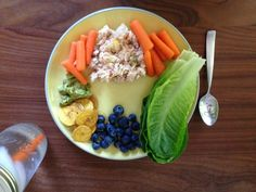 The Lazy Girl's Guide To the Whole30 // @ The Little Things We Do - Easy lunch, Tuna salad .. Tuna with chopped apple, celery & homemade mayo on ros lettuce hearts. + carrot sticks & fruit