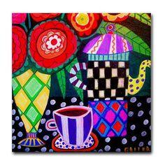 Kitchen Tile  Kitchen Art  Ceramic Cake Plate by HeatherGallerArt, $20.00