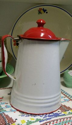 Red and White Enamel Ware Vintage
