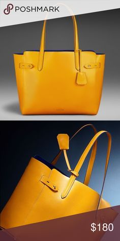 Modalu Limited Edition, Heirloom Collection Tote RARE. Never carried, from British designer Modalu. Handmade in Somerset, England.   Beautiful yellow leather handbag with blue brushed leather interior No interior pockets but has attached matching wallet. Tag attached is monogrammed with 'JD,' but no monogram on the bag itself. New condition, no flaws. Modalu Bags Shoulder Bags