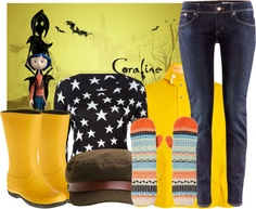 """Halloween Outift Inspiration: Coraline"" by lazymazei on Polyvore"