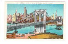 Brooklyn Bridge Lower Manhattan New York City Vintage Postcard by PicturesFromThePast on Etsy