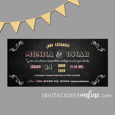Invitación de Boda pizarra #invitacionesdeboda  #invitacionesonline #bodas #casament #wedding #noscasamos #papelypapel #invitacionesdebodaoriginales #invitacionesdebodadivertidas
