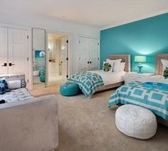 Palette Of Blues, Lime Green And White. Amazing White And Green Wall Color  Scheme In Modern Teenage Bedroom Design Ideas