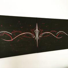 Custom Pinstriping Canvas Art Garage Art Hot Rod Pinstriper Lowbrow Art Rockabilly Pinup Vane Pinstriping