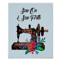 Vintage Sewing Rooms, Vintage Sewing Machines, Sewing Nook, Sewing Art, Sewing Machine Drawing, Sewing Quotes, Make Do And Mend, Custom Posters, Customized Gifts