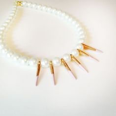 statement necklace with pearls and painted spikes (use Pantone's fall color palette)