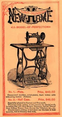 antique sewing machine ad - New Home Treadle Sewing Machines, Antique Sewing Machines, Sewing Room Decor, Vintage Sewing Notions, Sewing Circles, Old Advertisements, Sewing Art, Vintage Cards, Illustrations