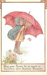 MAY YOUR EASTER BE AS SWEET AS SUNSHINE AFTER SUMMER SHOWERS  girl, umbrella    Public domain image