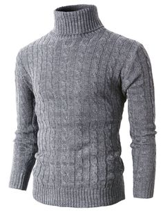 Mens Casual Turtle Neck Slim Fit Pull Over Sweater With Twist Patterned (KMOSWL033) #doublju
