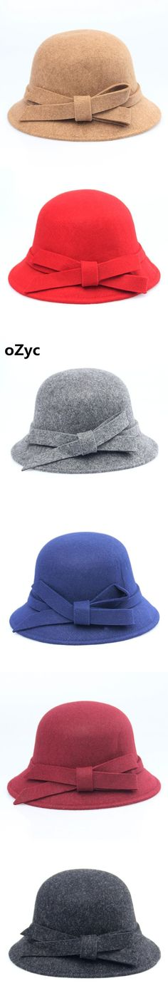 da8648ef6 NEW Solid Autumn Winter wool Fedoras Hat For Women Female Bucket Top Hat  For Lady Girl Church Hat Floppy Cartola Bowler warm Cap