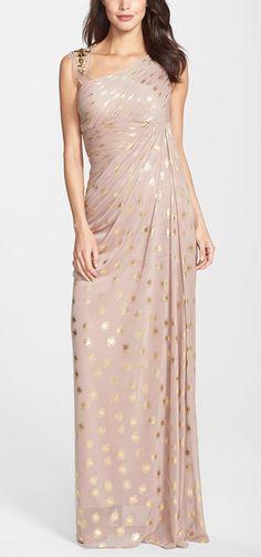 Polka dot & blush bridesmaid dress