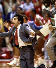 Jim Valvano and the NC State Wolfpack team wins the National Title after a last-second air ball by Dereck Whittenburg was caught and dunked by Lorenzo Charles. Support the Jim Valvano Cancer Foundation - The V Foundation Acc Basketball, Basketball Legends, College Basketball, Basketball Motivation, Championship Game, National Championship, Jim Valvano, Nc State University, Ncaa Tournament