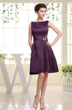 Plum Modest Zip up Satin Knee Length Rhinestone Bridesmaid Dresses