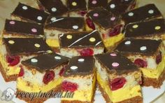 Fantasztikus sütemény Cake Bars, Holidays And Events, Cookie Recipes, Cheesecake, Pudding, Sweets, Cookies, Chocolate, Cukor