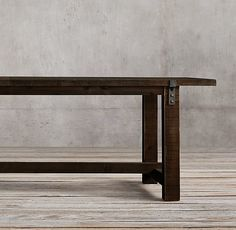 Reclaimed Wood & Zinc Strap Rectangular Dining Table