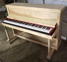 Built custom upright shell for electric piano Piano Table, Piano Desk, Piano Art, Keyboard Piano, Piano Room, Home Music Rooms, Music Studio Room, Studio Setup, Electric Keyboard