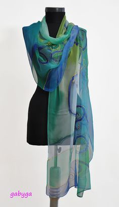 Abstract Painting Silk Chiffon Scarf Hand painted Scarf by GABYGA