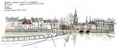 Gerard Michel - Delft, Hooikaai Watercolor Sketch, Watercolor Paintings, Watercolors, Building Illustration, Illustration Art, City Drawing, Amazing Paintings, Urban Sketchers, Cool Sketches