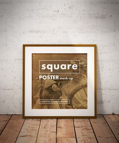 Free square grunge poster on the floor mockup