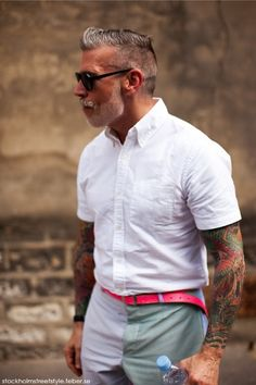 Nick Wooster. White & Red. Tattoos. Oxford Shirt. Summer Style. Fashion.