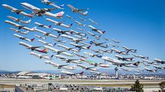 """Wake Turbulence: LAX"" - photo by Mike Kelley, via BoredPanda ;  ""Airportraits"" series;  Photos were taken of many planes from the same spot as they left the tarmac, then the images were compiled, showing just how busy airports can be."