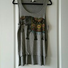 High-low Elephant Tank EUC worn and washed twice. Super cute elephant tank top! Love this, but I don't like how the high-low tanks look on me! Size Large (tag removed). Fits a little loose! Double Zero Tops Tank Tops