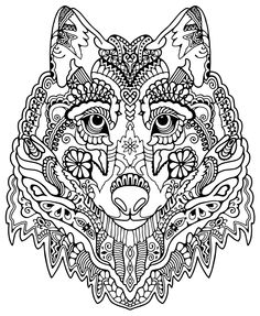 wolf abstract doodle zentangle coloring pages colouring adult detailed advanced printable