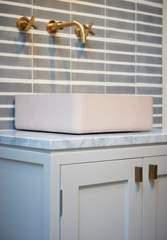 Tap by Studio Ore, Tiles by Marrakech Design, Handles by Armac Martin, Kast Concrete Basin in Blush, K&L Cabinetry Bathroom Inspiration, Bespoke Handles, Interior Projects, Concrete Basin, Vanity Units, Interior Design Services, Door Handles, Bathroom Design, Home Decor