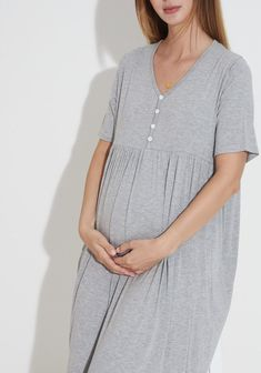 Nursing Pajamas, Nursing Wear, Nursing Dress, Bamboo Rayon, Maternity Wear, Heather Grey, 4th Trimester, Tunic Tops, Bump