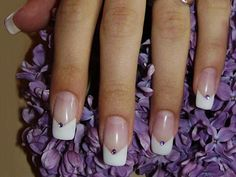 V french manicure #pink and white #nail design #rhinestones