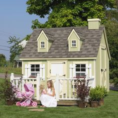 The girls would just love this.... maybe one day:) Little Cottage 6 x 8 Cape Cod Wood Playhouse