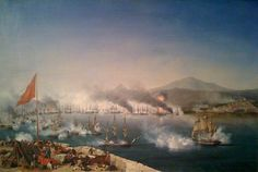 The Battle of Navarino on 20 October 1827, in Navarino Bay (modern-day #Pylos), #Peloponnese, resulted in an Ottoman armada being destroyed by an Allied force of British, French and Russian vessels. It is notable for being the last major naval battle in history to be fought entirely with sailing ships, although most ships fought at anchor. More: http://en.wikipedia.org/wiki/Battle_of_Navarino | Painting by Garneray http://en.wikipedia.org/wiki/Ambroise_Louis_Garneray