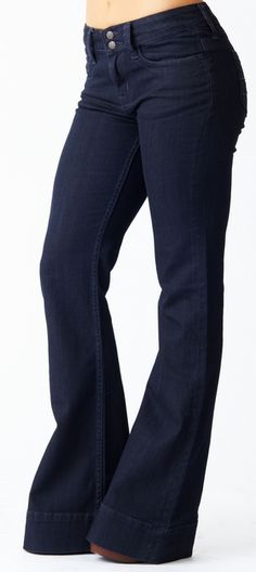 Wow -- didn't realize how much I missed bell-bottom jeans until I saw this photo! 5 Pocket Mid Rise Bell Bottom at Reuse Jeans-80% Recycled Cotton