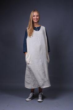 Linen apron dress / Work apron dress / natural linen apron / Sizes XXS to XXL
