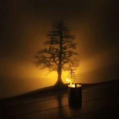 Creative LED Shadow Projection Night Light Atmosphere Candle Decor Sale-Banggood.com