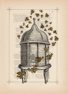 bee hive print by joyce