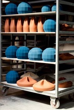 APPARATU, ceramic lamps. Picture by Txema Salvans shades of orange and blue