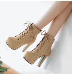 Ankle Boots For Women Female High Heels Lace Up Autumn Shoes Woman Buckle Platform Short Boots Spring Boots, Fall Shoes, Boots For Short Women, Short Boots, Platform High Heels, High Heel Boots, Boot Heels, Womens Fall Boots, Stylish Boots