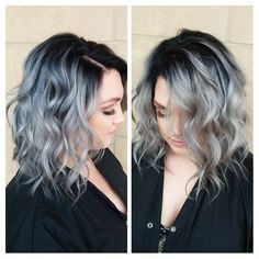 Beautiful lob haircut with a shadow root base and multi-hues of silver and charcoal hair color by Mallory Penfield hotonbeauty.com