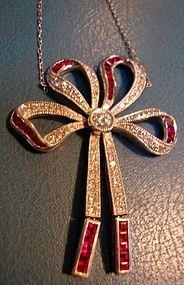 Platinum Art Deco Bow Necklace w/ Rubies & Diamonds