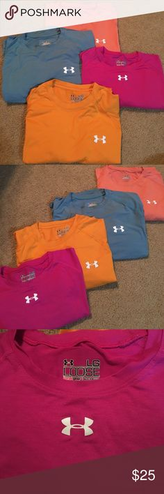 BUNDLE OF 4 Men's Under Armour T-Shirts Men's Under Armour T-shirts. All size Large except for the Teal Tshirt: size Medium. ***Will sell as bundle for $25 or individual for $8!*** All in pretty good condition, the Salmon Tshirt is the only one with a marking on the back but still good workout shirts. Under Armour Shirts Tees - Short Sleeve