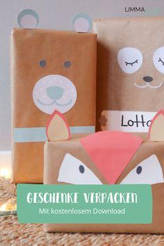Geschenke, Geschenke! Diese hier sehen auch von außen toll aus.  Geschenke einpacken für Kinder macht mit diesen tollen Bastelvorlagen  noch mehr Spaß. Es gibt sie kosenlos zum Download auf unserem Blog.  Schaut mal vorbei! #geschenkeeinpacken #limmaland #kindergeburtstag