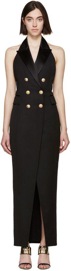 Balmain Black Tuxedo Long Dress