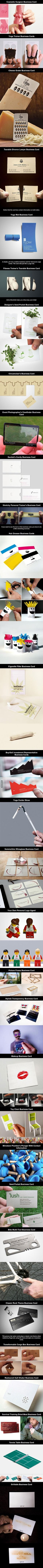 Most Creative Business Cards Ever. Marketing team - look at the transparent ones - goes with our theme Career Advice, Career Tips