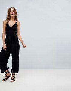 bdb379a755 Akasa Exclusive wide leg beach jumpsuit in black