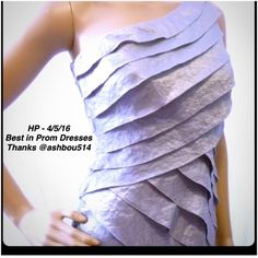HP 4/5/15NWT tiered one shoulder dress Brand: London Times    Size: 6P   Color: steel (silver)   iridescent crinkle raw edge shutter pleat dress with one shoulder neckline hidden side zip and hook entry, embellished panel on hip  71% rayon 11% nylon 18% poly  lining is 100% poly.  Length from shoulder down is about 35 inches.  Host Pick -Best of Prom Dresses 4/5/16 London Times Dresses Prom