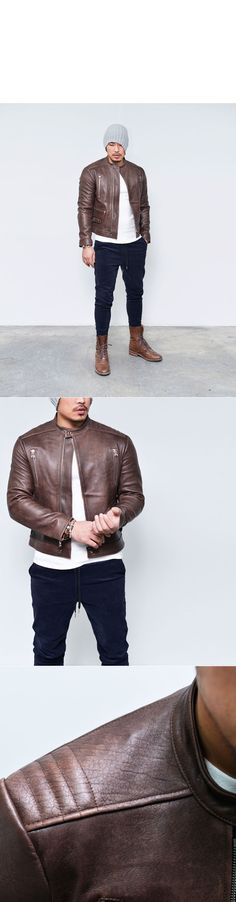 Seaming Shoulder Masculine Lambskin Biker-Leather 84 - GUYLOOK